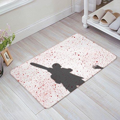 EZON-CH Modern Non Slip Bathroom Happy Halloween Killing Shadow Mat Toilet Geometry Floor Rug Tea Mat Table Mat Carpet Pad(16IN X 24IN)