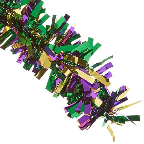 "Beistle 50281-GGP Metallic Festooning Garland Party Accessory, Mardi Gras Decorations, 4"" x 15', Gold/Green/Purple"