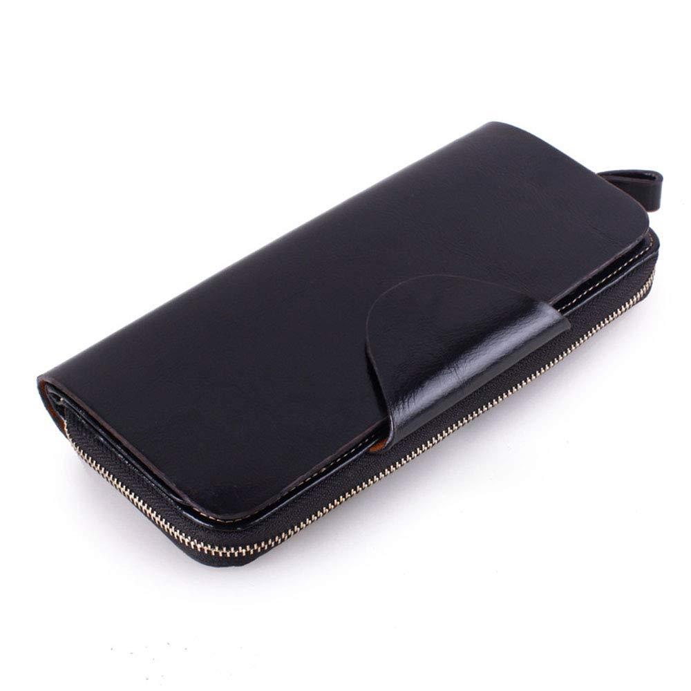 Black Women's Long Zipper Leather Wallet Ladies Clutch Bag Large Capacity Flip MultiFunction Wallet (color   Black)