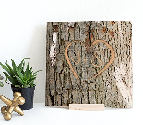 Personalized Memory Tree Bark Image Keepsake - Engraved Heart Shape with Custom Initials onto Real Wood Canvas | Initial Gifts | Couple's Gift | Wedding Gifts | 5th Anniversary Gifts Valentine Gifts