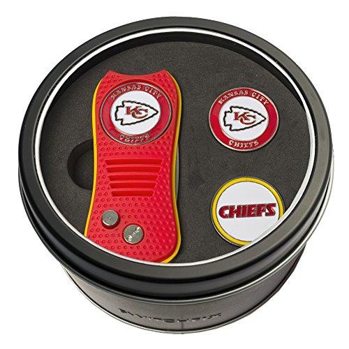 NFL Kansas City Chiefs Tin Gift Set with Switchfix Divot Tool and 2 Ball - Tool City Kansas Chiefs
