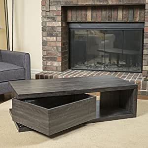 Amazon Com Fulton Rectangular Rotating Wood Coffee Table