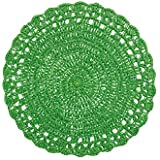 Villa dEste Home Tivoli Crocheted Placemats, Round, Raffia, Green, 38 x 38 cm by Villa dEste Home Tivoli