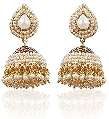 d741b74ad Buy YouBella Stylish Party Wear Traditional Jewellery Gold Plated and Pearl  Jhumkis Earrings for Women (White)(YBEAR_NEW_JHUMKI_WHITE_A) Online at Low  ...