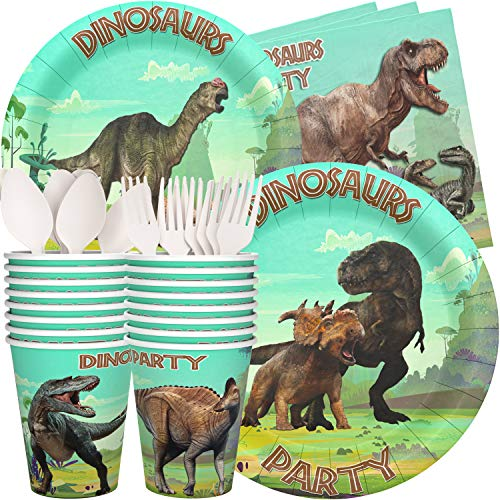 Dinosaur Party Plates Cups Napkins - 16 Guests