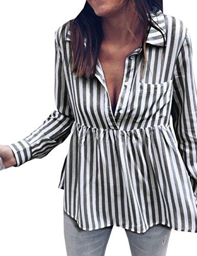 Raye Tops Revers Femme Tee Automne Blouse Longues Manches et Noir Fashion Legendaryman Printemps Shirts Shirt Chemisiers Haut Casual T xwYnHBq