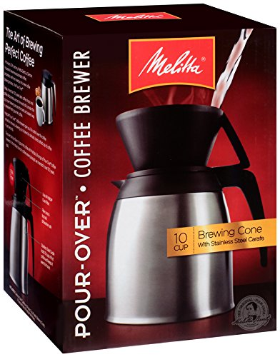Melitta Coffee Maker, 10 Cup Pour- Over Brewer with Stainless Thermal Carafe by Melitta