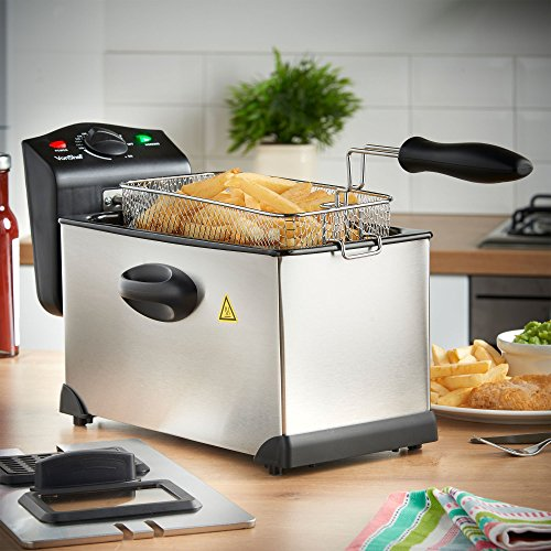 vonshef deep fryer with basket and viewing window 3 oil litre stainless steel non stick. Black Bedroom Furniture Sets. Home Design Ideas