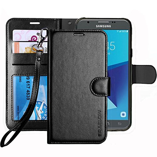 ERAGLOW Galaxy J7 V / J7 Perx / J7 Sky Pro / J7 Prime / J7 2017 / Galaxy Halo Case Luxury PU Leather Wallet Flip Protective Case Cover with Card Slots and Stand for Samsung Galaxy J7 2017 (Black)