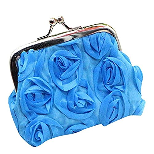 Small Clutch Purse Wallet Bag Womens Clearance Flower Coin Wallet Wallet Rose 2018 Sale Sky Blue Handbag Noopvan 1SqYvfTv