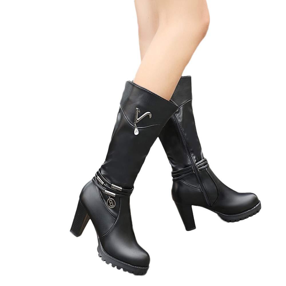 Botines tacó n Ancho Grueso Alto cuñ a Mujer Invierno Moda 2018 PAOLIAN Botas Militares cañ a Medio Botas Biker Piel Comodos Zapatos Cuero Fiesta Señ ora Calzado Otoñ o Dama