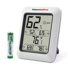 With an accuracy of ±2%RH and ±1°F, temperature range from -58°F to 158°F (-50°C ~ 70°C), the ThermoPro-TP50 helps maintain proper temperature and humidity conditions in baby rooms, houses, offices, greenhouses and other temperature and/or hu...
