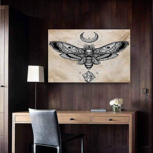 duommhome Fantasy Chinese Classical Oil Painting Dead Head Hawk Moth with Luna and Stone Spiritual Magic Skull Illustration for Living Room Bedroom Hallway Office 20