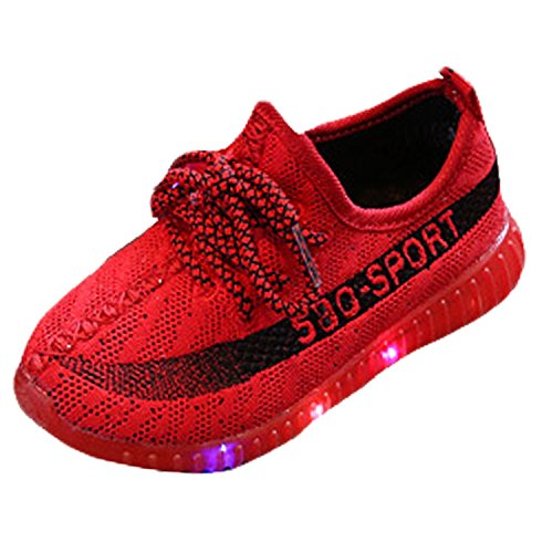 Solas Red Handheld - LED Light Lace-Up Sneakers Toddler Kids Child Boys Girls Lovely Flashing Luminous Sport Shoes(Red 23 EU/7.5 M US Toddler)