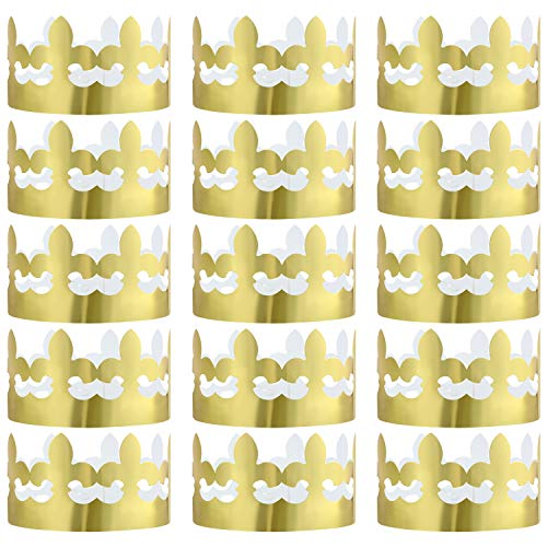 Jovitec 24 Packs Gold Foil Paper Crown Party Crown Hat Cap for Birthday Celebration Baby Shower Photo Props