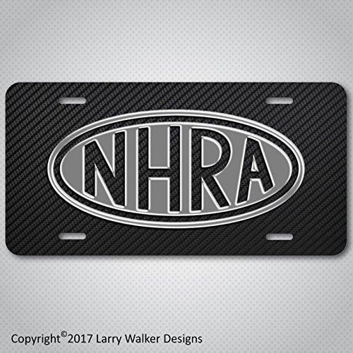 NHRA Drag Racing Simulated Carbon Fiber Aluminum License Plate Tag New