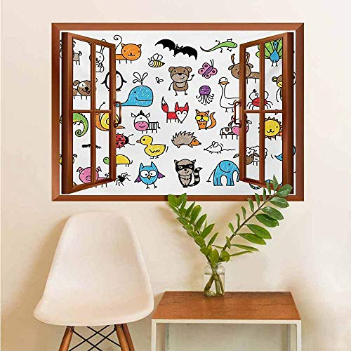 Self-Adhesive Window Decoration Collection of Cartoon Style Animals Drawn in Child Friendly Manner Cute Adorable Fun Decal Sticker Multicolor W12xL18 INCH (Kid Friendly Horses For Sale In Texas)