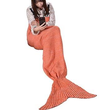 KUGIN Manta de sirena de punto, saco de dormir para cama, sofá, manta de ganchillo, cola de sirena, manta para adultos y niños 70x140cm naranja: Amazon.es: ...