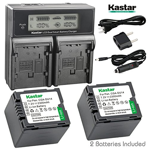 (Kastar LCD Dual Smart Fast Charger & 2 x Battery for Panasonic CGR-DU14, CGA-DU14 and PV-GS31, PV-GS33,PV-GS34, PV-GS35, PV-GS39, PV-GS400, PV-GS500, PV-GS50, PV-GS50S, PV-GS55 Digital Camcorder)