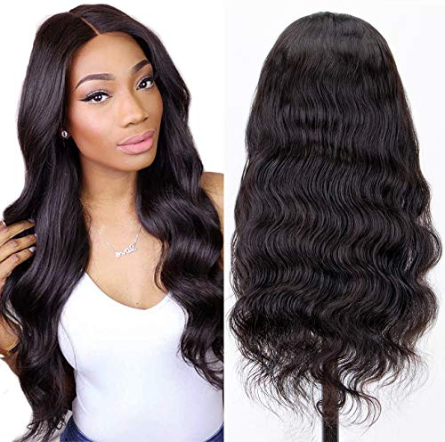 Chantiche Glueless Body Wave 360 Lace Wig with Natural Hairline and High Ponytail Brazilian Virgin 360 Lace Frontal Human Hair Wigs for Women 150% Extra Heavy Density 16inches Natural Color