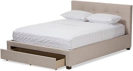 Baxton Studio Brandy Upholstered Queen Storage Platform Bed In Beige Amazon Ca Home Kitchen