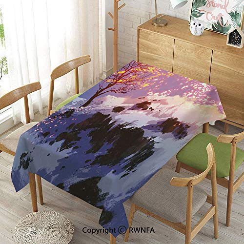Homenon 100% Polyester Tablecloths for Rectangle Tables,Magical Landscape
