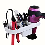 shuangqing Hair Dryer Shelf, Hair Straightener Holder, Wall Mount Storage Rack, Multi-Functional Storage Shelf, Easy Install with Magic Sticker