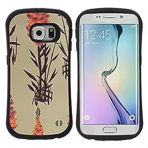 "Hypernova Slim Fit Dual Barniz Protector Caso Case Funda Para Samsung Galaxy S6 EDGE [Arte Naturaleza Planta Lago Naranja Beige""]"