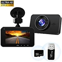 Dash Camera 1296P FHD Car Cam Video Recorder with Sony 323 Sensor 6G Lens 170 Wide Angle 3 Inch Screen WDR Loop Recording G-Sensor ADAS 16GB SD Card Included with USB Car Charger