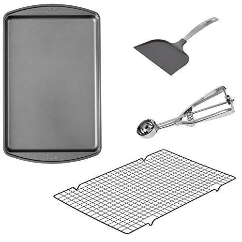 Wilton Cookie Baking Set 4-Piece -  17.25 x 11.5-Inch Non-Stick Cookie Sheet -  16 x 10-Inch Non-Stick Cooling Rack, Non-Stick Spatula, and Stainless Steel Cookie Scoop ()