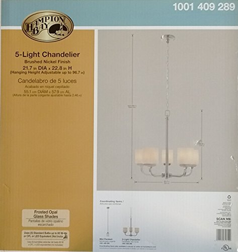 Hampton Bay 5-Light Brushed Nickel Chandelier with Frosted G