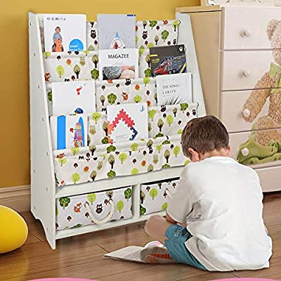 UPDD Wooden Sling Bookcase with 2 Drawer- Children's Magazine Picture Book Storage Rack,Sturdy Canvas Fabric, Young Reader Support,White (Large): Kitchen & Dining