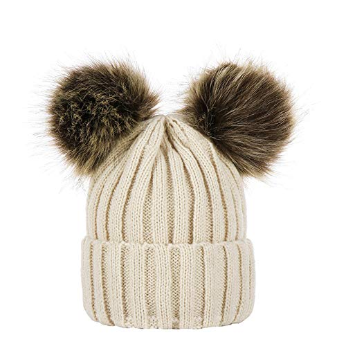 Baby Winter Warm Knitted Wool Balls Hats Clearance- Iuhan Winter Baby Boys Girls Keep Warm Winter Fur Pom Pom Cable Knitted Cap Hat for 0-3Years Kids (Beige)