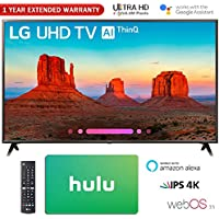 LG 65 Class 4K HDR Smart LED AI UHD TV w/ThinQ 2018 Model (65UK6300PUE) with Hulu $25 Gift Card & 1 Year Extended Warranty