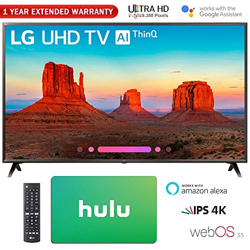 LG 65″ Class 4K HDR Smart LED AI UHD TV w/ThinQ 2018 Model (65UK6300PUE) with Hulu $25 Gift Card & 1 Year Extended Warranty