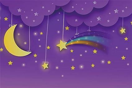 LFEEY 5x3ft Baby Dream Purple Background Kids Good Night Wallpaper Shower Moon Twinkle Little