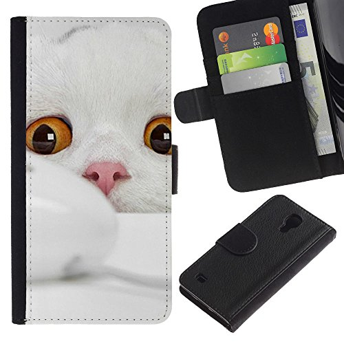 EuroCase - Samsung Galaxy S4 IV I9500 - Scottish fold cat white kitten angora - Cuero PU Delgado caso cubierta Shell Armor Funda Case Cover