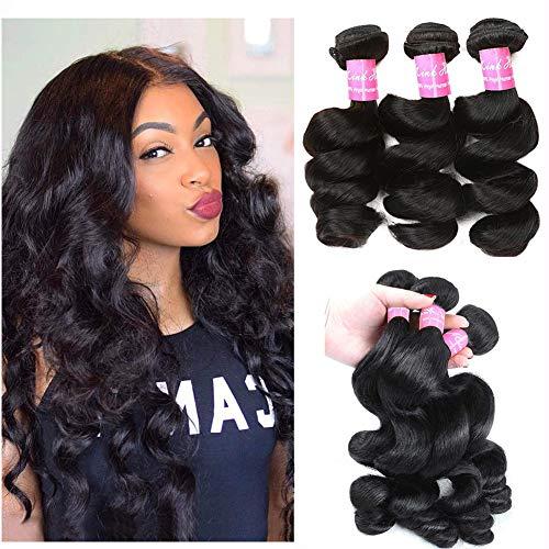 - Mink Hair 7A Peruvian Loose Wave Bundles (16 18 20 22) Unprocessed Virgin Loose Wave Human Hair Weave Bundles Natural Color