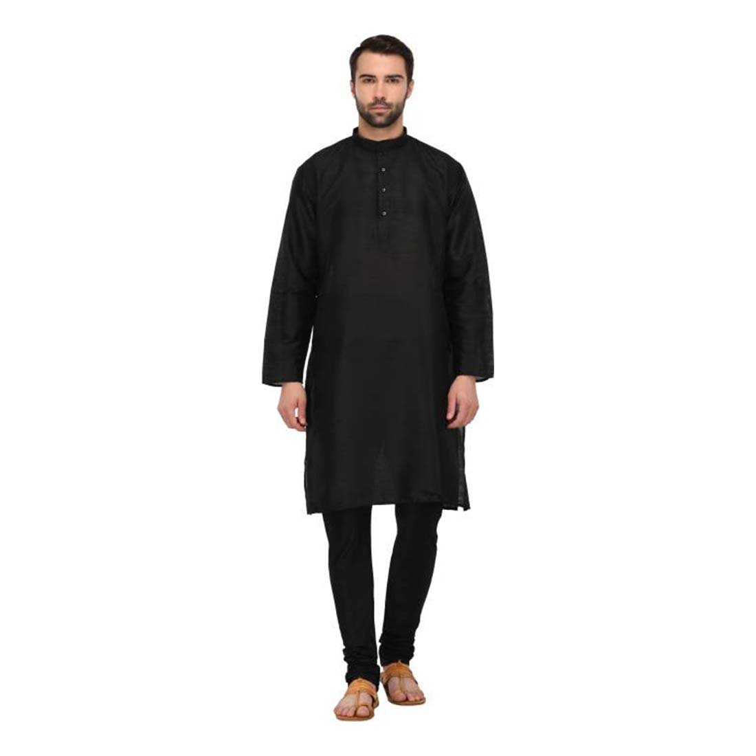Men's Black Solid Full Sleeve Kurta and Pyjama Set