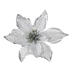 Artificial Fowers 15Cm Christmas Flowers Xmas Christmas Tree Decorations Glitter Wedding Party Artificial Flowers Decor 6 Colors Drop Shipping,Silver 1