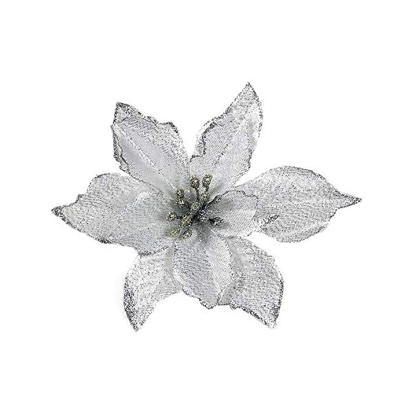 Artificial-Fowers-15Cm-Christmas-Flowers-Xmas-Christmas-Tree-Decorations-Glitter-Wedding-Party-Artificial-Flowers-Decor-6-Colors-Drop-ShippingSilver
