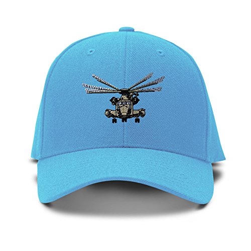 Speedy Pros Ch-53E Plane Embroidery Adjustable Structured Baseball Hat Light Blue (Ch Plane)