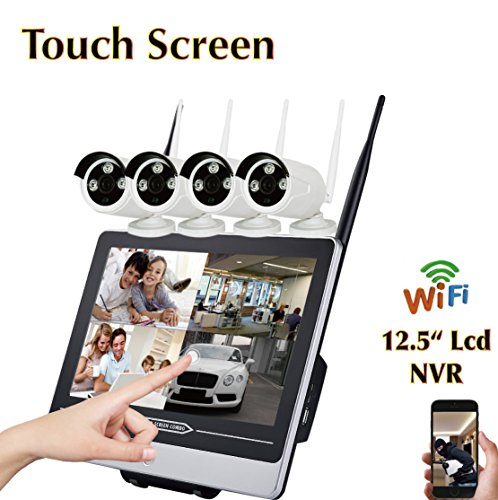 Cheap Touch Screen 4 CH 720P Camera WiFi NVR LCD Combo Home Security System – Plug&Play, Mobile Access, Day & Night Vision, Built-in Router and Monitor, IP66 Weatherproof, No HDD