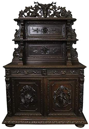 EuroLuxHome Buffet Hunting Renaissance Oak Antique 1880 Heavily Carved Oak Server 2 Door