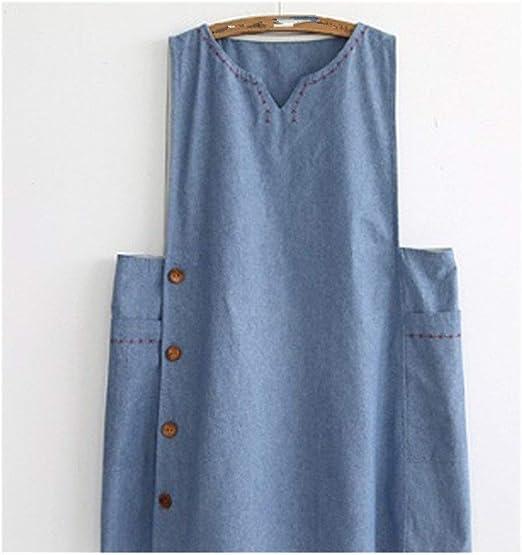 Denim delantal de algodón sin mangas ropa de cocina de gran tamaño ...