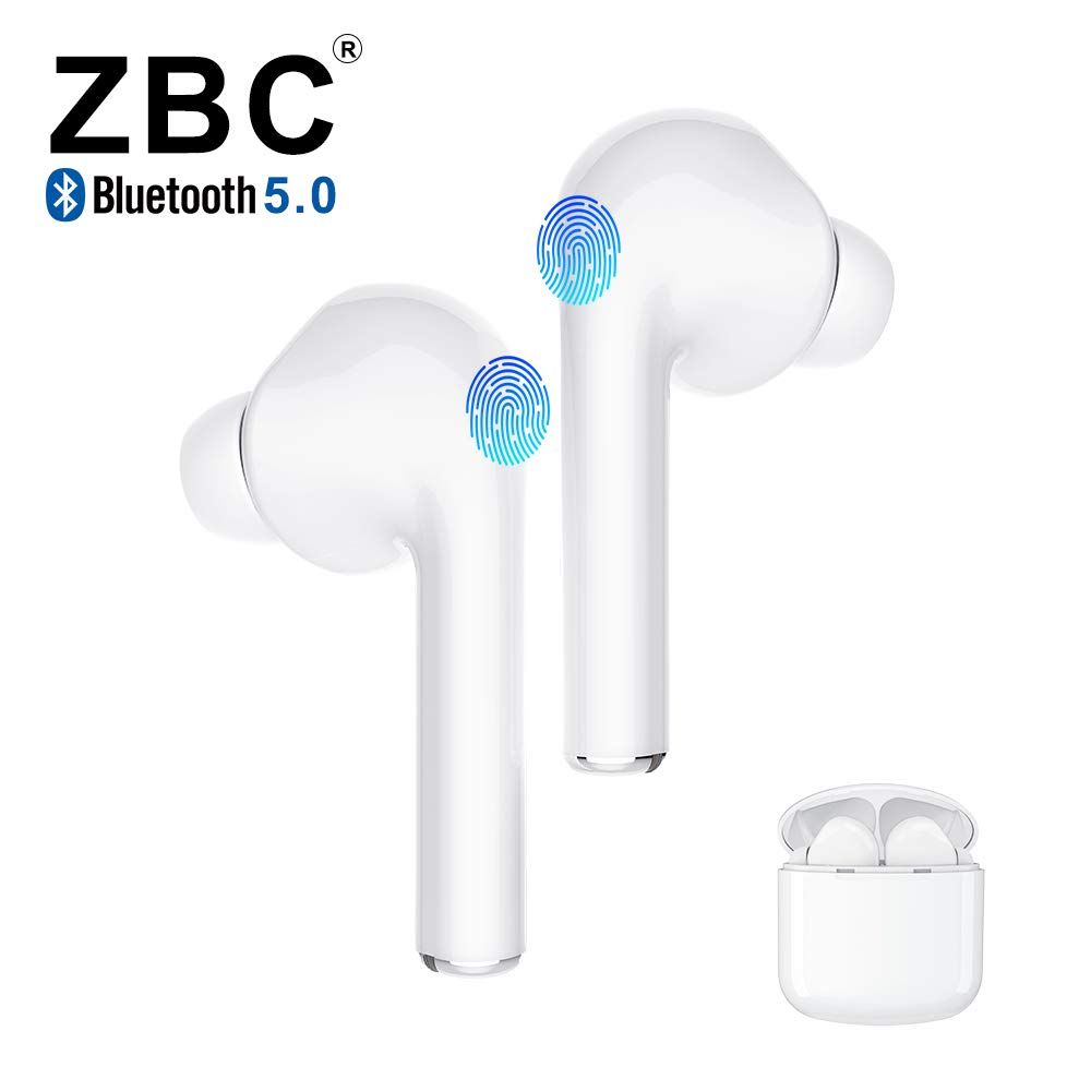 Truly Wireless Bluetooth Earbuds 5.0 Noise Reduction Headphones Hi-Fi 3D Stereo Sound Built-in Mic Earphones in-Ear TWS Headsets Smart Touch Portable Charging Case Long Playtime Auto Pairing