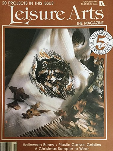 Leisure Arts Cross Stitch, Magazine, October 1991, 20 Projects, Raccoon, Bread Cloths, Apples, Christmas Sampler, Diamond Pattern Afghan, Halloween, Santa, Potpourri Hot-pads, and (Bread Cloth Cross Stitch Patterns)
