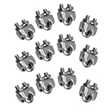12 Pieces M3 Stainless Steel Wire Rope Cable Clip Clamp 1/8'' Wire Rope Cable Clip
