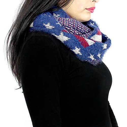 Ladies Mohair Knit Scarf (Soft Knit Patriotic USA Infinity Scarf)