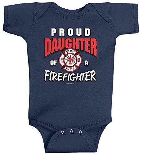 Threadrock Baby Girls' Proud Daughter of a Firefighter Infant Bodysuit 6M Navy (Firefighter Girls)